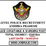 Andhra Police Latest 4548 Constable & Warder Recruitment 2016