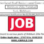 Birbhum Zilla Parishad Latest Recruitment 2016