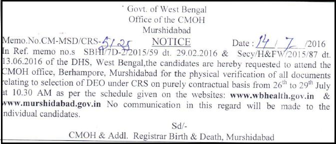 Murshidabad CRS DEO Exam Result