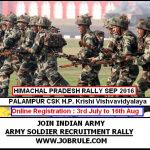 Upcoming Palampur Army Rally September 2016 Online Registration