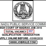 TNPSC Madras High Court 317 Office Job for Graduates
