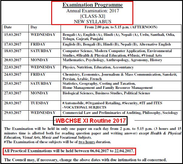 WBCHSE Class XI Routine 2017