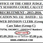 Calcutta City Session Court Latest 17 LDC & Care Taker Recruitment 2016