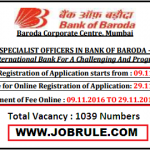Bank of Baroda 1039 Specialist Officer Recruitment 2016