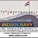 Job in Indian Navy as Stewards, Chefs & Hygienists for MR/NMR -Oct 2017
