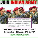 Upcoming Thanjavur Army Rally August 2017 Online Registration