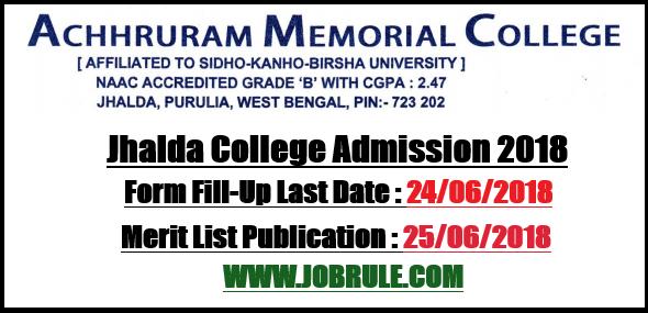Jhalda College Merit List 2018