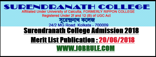 Kolkata Surendranath College Merit List